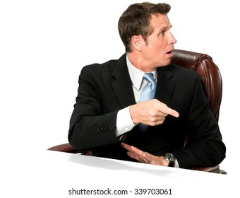 Shocked Caucasian man with short medium blond hair in business formal outfit pointing using finger - Isolated