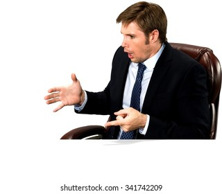 Shocked Caucasian man with short medium blond hair in business formal outfit talking with hands - Isolated