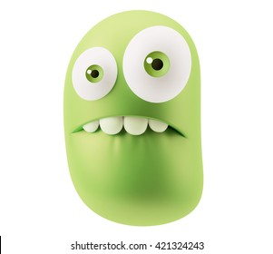 Shocked Emoticon Character Face Expression. 3d Rendering.