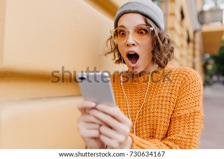 7eab2ae44 Shocked Girl Brown Eyes Looking Phone Stock Photo (Edit Now ...