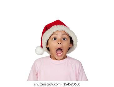 Shocked Girl Wearing Santa Hat Over White Background