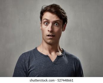 Shocked man face.