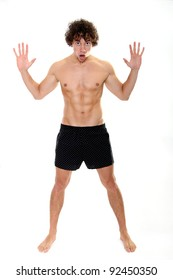 Shocked muscular young man-shirtless