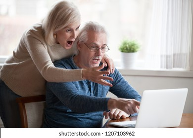 Shocked senior husband and wife pointing at laptop screen seeing unbelievable information, surprised aged couple notice unexpected on computer, elderly man and woman amazed by online news