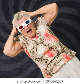 Shocked Senior Woman Watching 3d Movie On Wallpaper