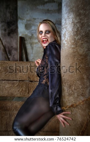 girls leather vampire Sexy in