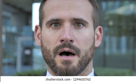 Shocked, Stunned Beard Businessman
