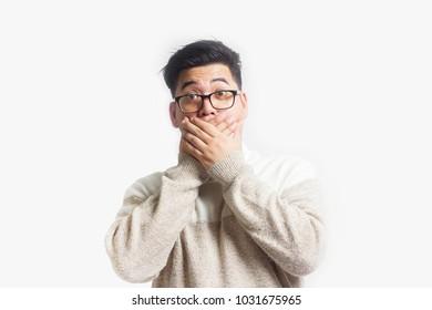 Shocked stunned face something of Asian man.