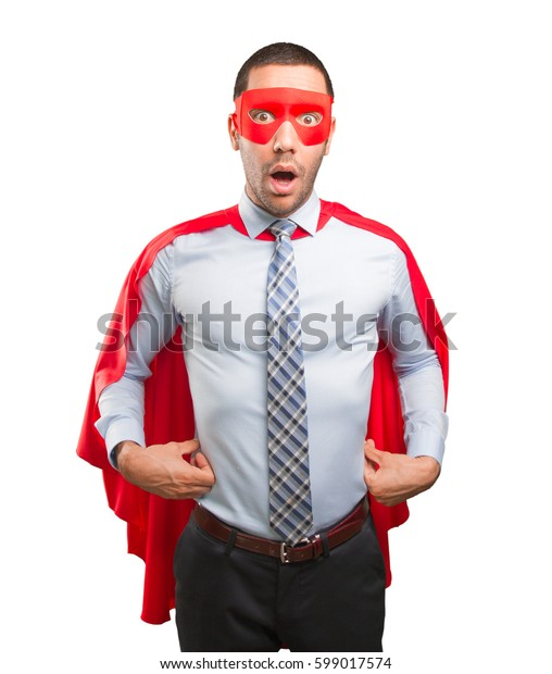 Shocked super businessman