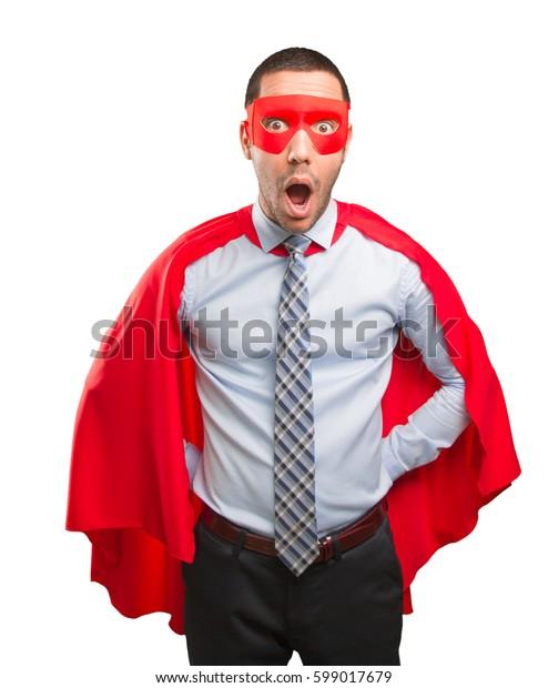 Shocked super businessman