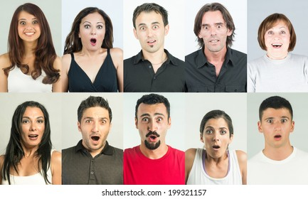 Shocked and surprised people head and shoulders shot with several emotional facial expression