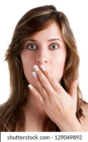 Shocked Woman Covering her Mouth with her hand, isolated in a white background