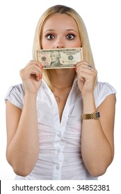 shocked woman silenced with dollar bill on her mouth