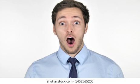 Shocked Young Businessman on White Background