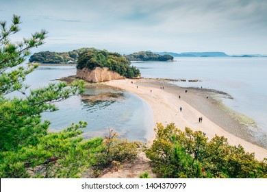 Shodoshima Angel road sea landscape in Shikoku, Japan