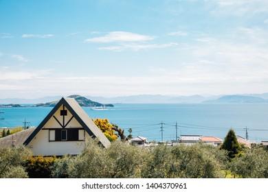 Shodoshima Olive park and seaside village in Shikoku, Japan