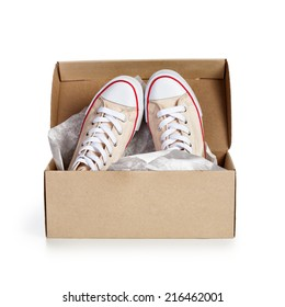 aacad6755729 Shoe box with pair of new sneakers isolated on white background. Object  with clipping path