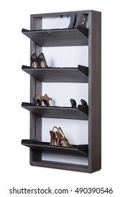 Shoe cabinet with women's shoes isolated on white.