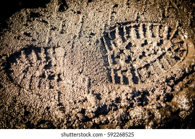 Shoe footprint on mud