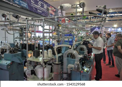Shoe machinery exhibited during 54th ANPIC edition in Leon, Mexico on October 24, 2019.