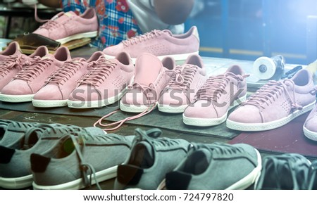 Shoe Making Process Footwear Factory Workshop Stock Photo (Edit Now