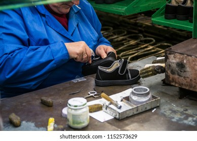 Shoe manufacturing at the Neman factory in Belarus, April 27, 2015