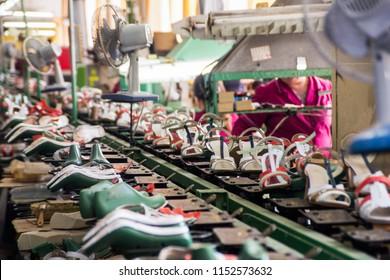 Shoe manufacturing at the Neman factory in Belarus, April 27, 2015