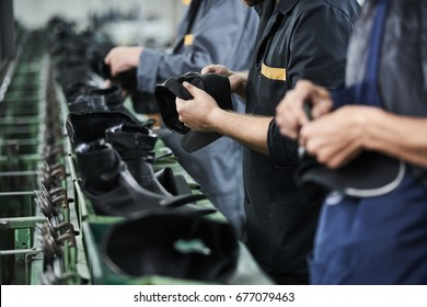 Shoe production process in factory