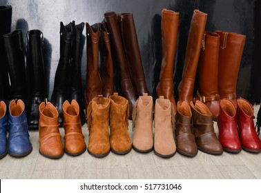 Shoe shop - boots collection on shelves