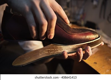 Shoemaker makes shoes for men. He sticks sole