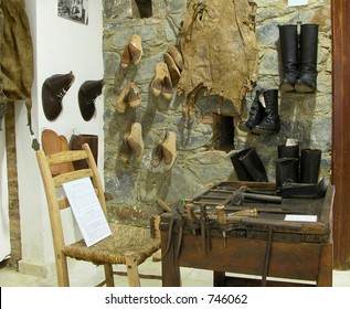 Shoe-maker tools and shoes