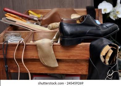 Shoemaker tools. Shoemaker workshop