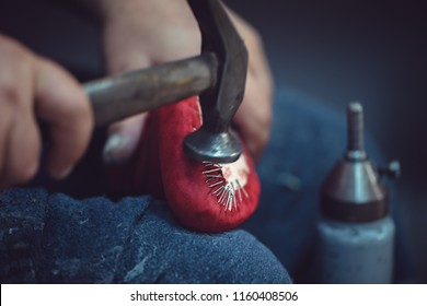 Shoemaker workshop for making shows artisan handmade manufacturing leather shoes. Shoe manufacture business for traditional vintage shoe making, craft boots in traditional style