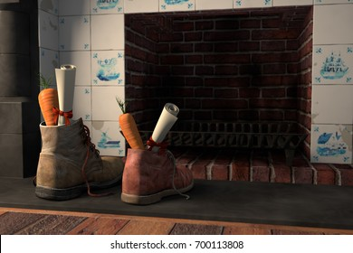 Shoes with carrots by the fireplace, or 'schoen zetten' for the traditional Dutch holiday Sinterklaas, 3d render.