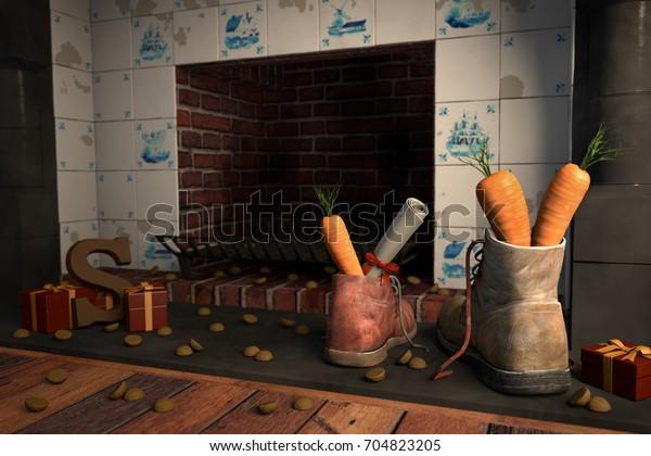 Schoenen met wortelen bij de open haard, of 'schoen zetten' voor de traditionele Nederlandse vakantie Sinterklaas, 3d render.