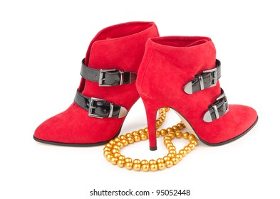 Shoes and gift box in fashion concept