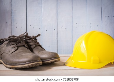 shoes with hard hat for working on wood