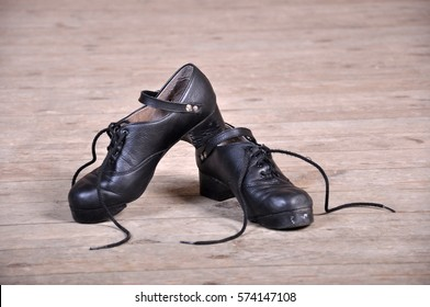 shoes for Irish dancing on the floor