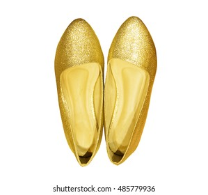 shoes isolated on white background. Golden and fashion woman shoes on a background