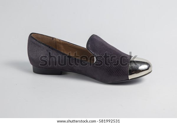 shoes leather on white background, Isolated Product, Top View