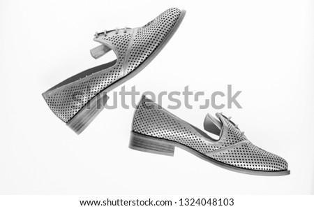 546ec06d31233 Shoes Made Out Silver Leather On Stock Photo (Edit Now) 1324048103 ...