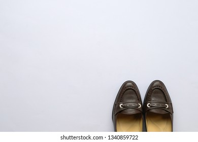 Shoes on background with copy space, professional employment or hiring concept