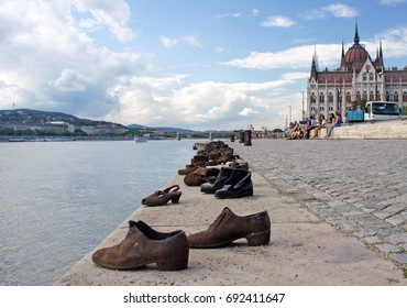 Shoes on the Danube Bank near Parlament, Budapest, Hungary