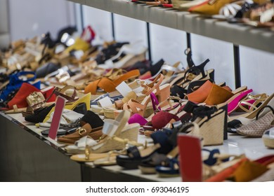 Shoes on sale in a store in Madrid