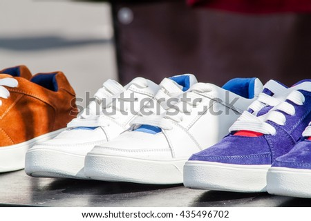 e5443a6ddc1f Shoes On Stand Sale Fair Stock Photo (Edit Now) 435496702 - Shutterstock