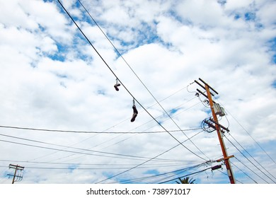 shoes on telephone pole