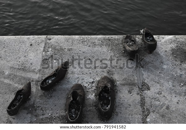 Shoes On Waterfront Budapest Holocaust Jews Stock Photo