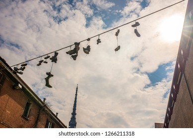 Shoes On A Wire   Shoes On Wire Images Stock Photos Vectors Shutterstock