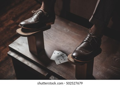 shoes on the wooden platform