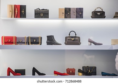Shoes and purses in a fashion shop